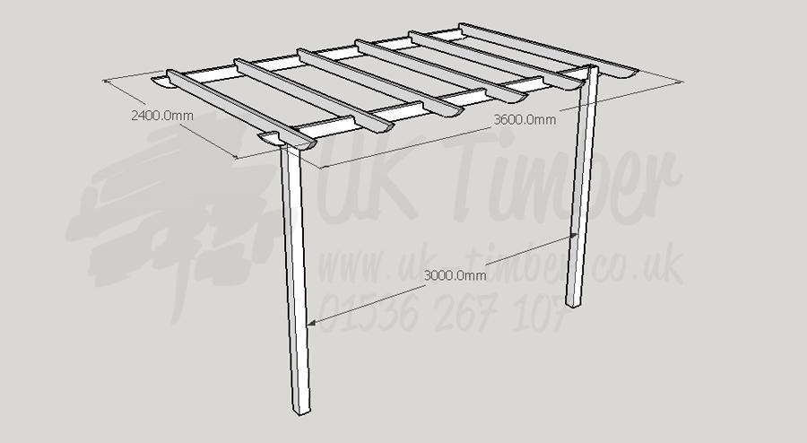 Standard Pergola Kit 2.4m x 3.6m - Wall Mounted - Pergola Kits Buy Standard Pergola Kit 2.4m X 3.6m - Wall Mounted