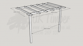 Standard Pergola Kit 2.4m x 3.6m - Wall Mounted