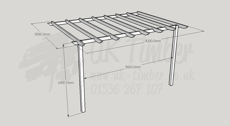Standard Pergola Kit 3.0m x 4.2m - Wall Mounted - Pergola Kits Buy Standard Pergola Kit 3.0m X 4.2m - Wall Mounted