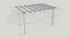 Standard Pergola Kit 3.0m x 4.2m - Wall Mounted
