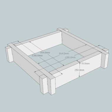 Slot Together Heavyweight Oak Raised Bed (Square) 1.2m
