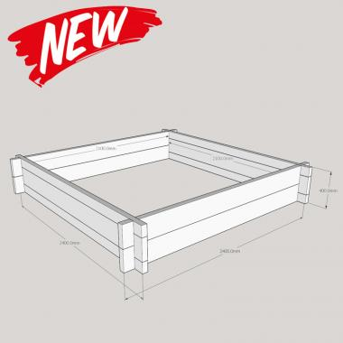Slot Together Heavyweight Oak Raised Bed (Square Extra) 2.4m