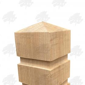 Siberian Larch Square Bollard - Full Pyramid Top