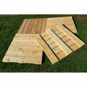 Pack of 4 Green Treated Nordic Redwood Pine Decking Tiles