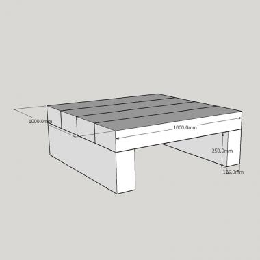 Square Softwood Sleeper Coffee Table